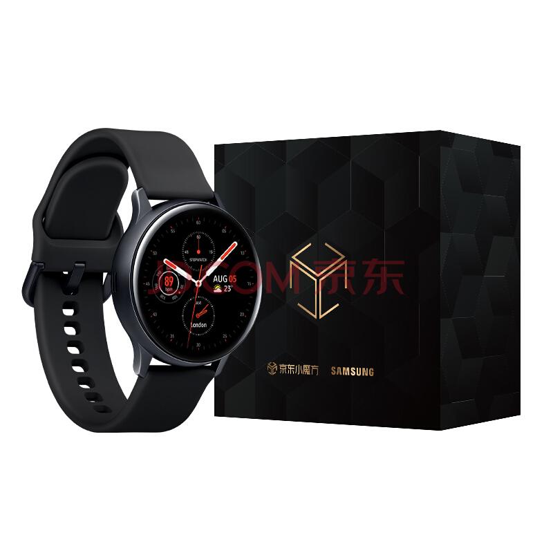 【京东小魔方】三星Galaxy Watch Active2 水星黑 智能手表 内赠三星原装表带一根(颜色随机) 44mm铝